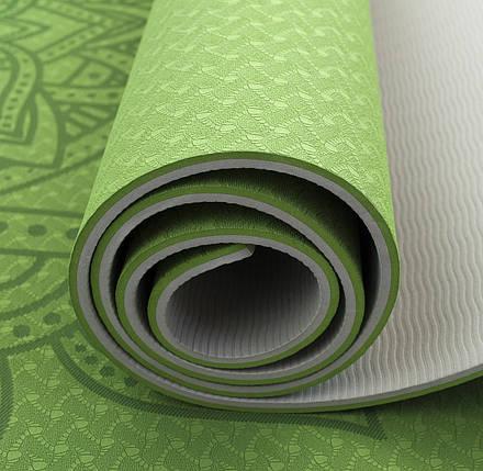 Коврик (мат) для йоги и фитнеса Sportcraft TPE 6 мм ES0027 Green/Grey, фото 2