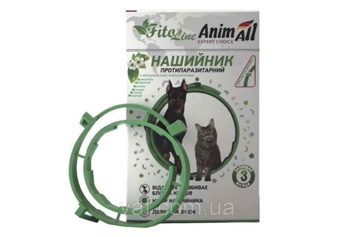 Нашийник протипаразитарний (біо, натуральний) AnimAll FitoLine Nature для кішок і собак, зелений, 35 см