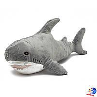 Мягкая игрушка плюшевая подушка  серая зубастая Акула 60 см - реалистический вид