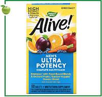 Nature's Way, Alive! Ультра-эффективные мультивитамины для мужчин, 60 таблеток, Раз в день, США