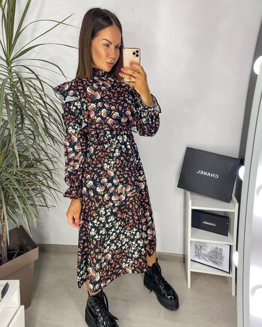 Женское платье, шёлковый софт,  р-р 42-44; 46-48 (чёрный)