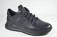 Мужские кожаные кроссовки черные Clubshoes 19/43