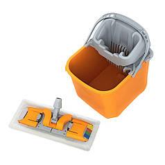 Комплект збиральний: Відро з віджимом 20 л, + швабра ПЛАСКЕ з мопом з мікрофібри для вологого прибирання офісу
