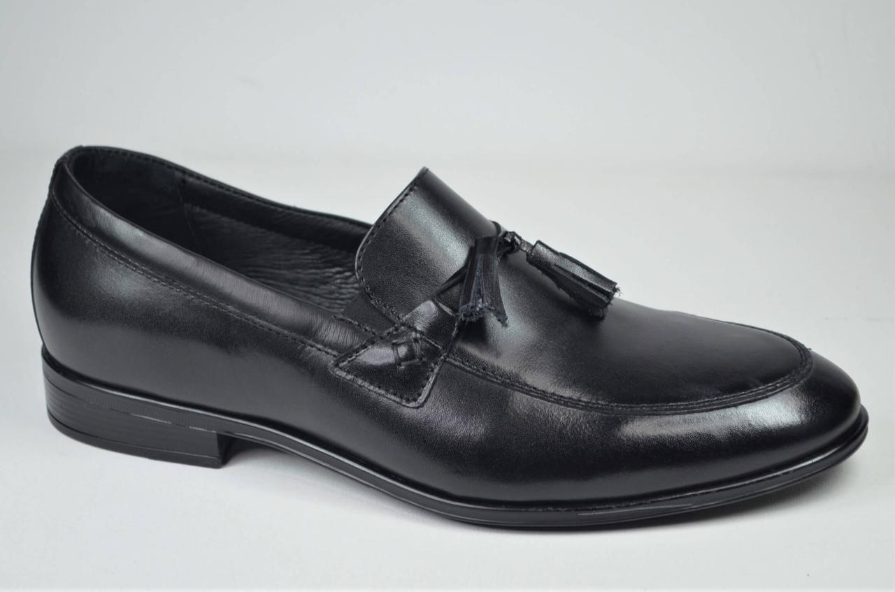 Чоловічі шкіряні туфлі лофери чорні L-Style 1223