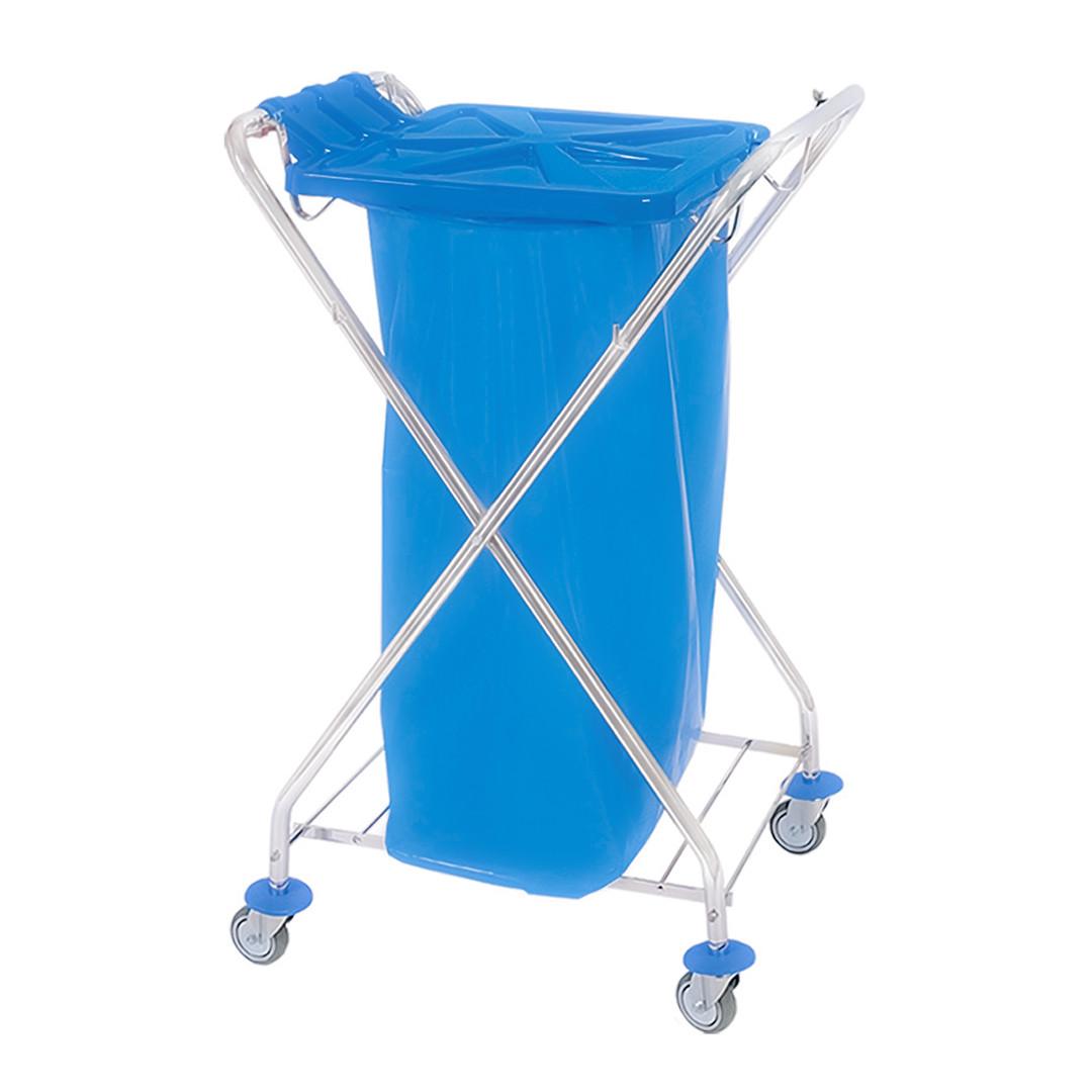 Хромований Візок держатель для сміттєвого пакету 120л з пластиковою кришкою