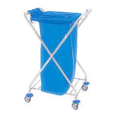 Хромированный Тележка держатель для мусорного пакета 120л с пластиковой крышкой