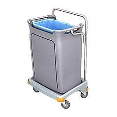 Хромований Візок держатель для сміттєвого пакету 120л з пластиковим коробом і кришкою