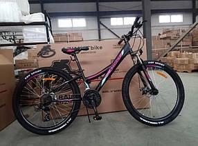 """Підлітковий гірський велосипед Azimut Navigator 24 розмір рами 12"""" чорно-рожевий"""