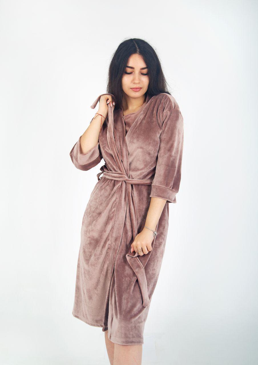 Жіночий халат велюровий Капучіно