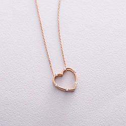 """Золоте кольє """"Серце"""" (фіаніт) кол01603"""