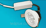 Вбудований світлодіодний світильник 220В 3х1 Вт БІЛИЙ ТЕПЛИЙ, фото 2