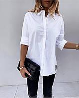 Женская стильная рубашка удлинённая , белая женская рубашка супер качество котон Турция размеры от 42 по 56