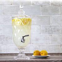 Лимонадница Ромби на ніжці, 3л, МЕТАЛЕВИЙ кран (лимонадник, диспенсер)