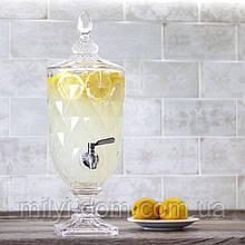 Лимонадница Ромбы на ножке, 3л, МЕТАЛЛИЧЕСКИЙ кран (лимонадник, диспенсер)