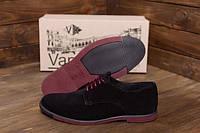 Туфли замшевые натуральные черные мужские VanKristi