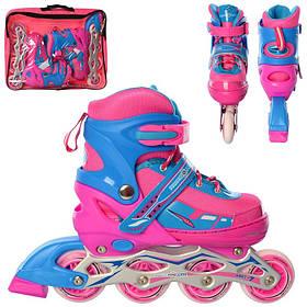 Ролики детские раздвижные (30-33) шнуров+бакля, алюм.рама, колеса ПУ, 1свет, розовый с синим