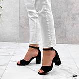 Босоножки женские черные на каблуке 8 см эко- замш, фото 4