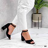 Босоножки женские черные на каблуке 8 см эко- замш, фото 5