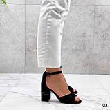 Босоножки женские черные на каблуке 8 см эко- замш, фото 6