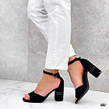 Босоножки женские черные на каблуке 8 см эко- замш, фото 7