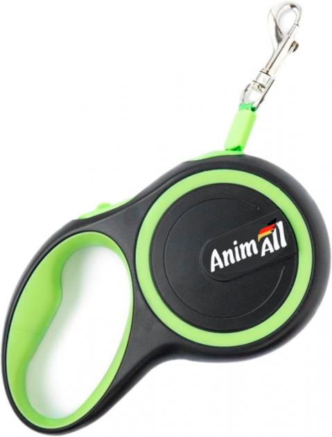 Поводок-рулетка AnimAll для собак весом до 25 кг, 5 м, M салатово-чёрный, Энимал