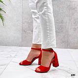 Босоножки женские красные на каблуке 8 см эко замша, фото 2