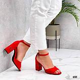 Босоножки женские красные на каблуке 8 см эко замша, фото 3