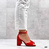 Босоножки женские красные на каблуке 8 см эко замша, фото 4