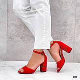 Босоножки женские красные на каблуке 8 см эко замша, фото 5