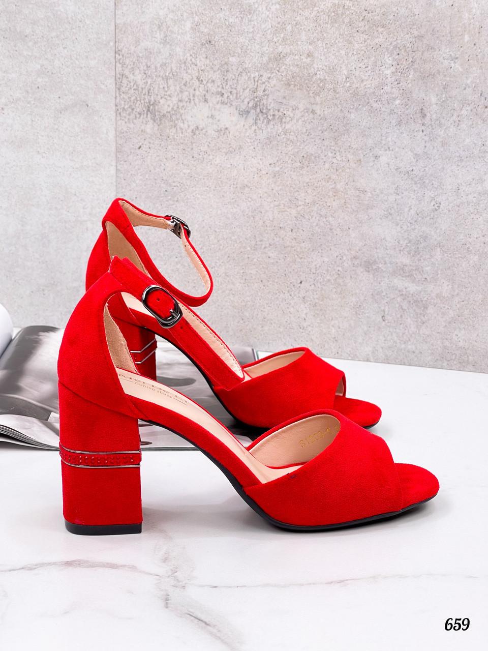 Босоножки женские красные на каблуке 8 см эко замша