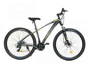 """Підлітковий гірський велосипед Azimut Nevada 24 розмір рами 15"""" чорно-зелений"""