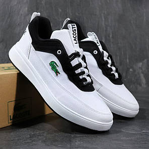 Чоловічі кросівки Lacoste білі з чорним, фото 2