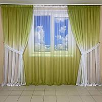 Лёгкие готовые шторы салатового оттенка