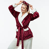Женская плюшевая пижама с длинным рукавом. Жакет + штаны. Цвет: бордо и молочный