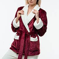 Женская пижама из плюшевой махры. Жакет + штаны. Цвет: бордо и молочный