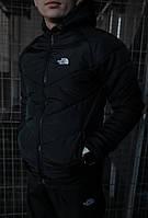 Куртка мужская осенняя / весенняя The North Face черная утепленная ТНФ TNF Демисезонная теплая ветровка