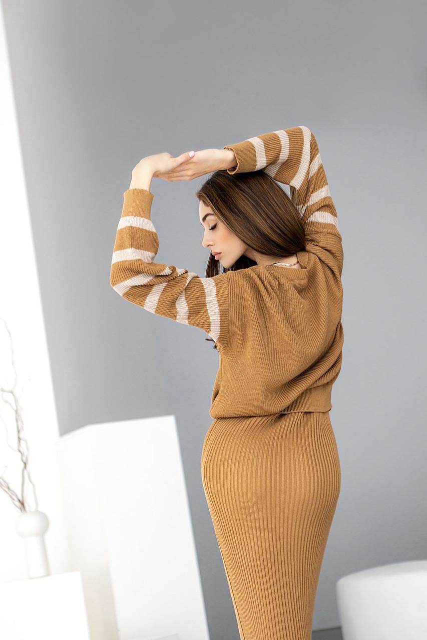Женский двухцветный свитер из натуральной пряжи свободного силуэта, Кемел+крем брюле