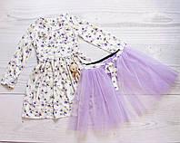 Детское нарядное платье для девочки от 4 до 6 лет со сьемной фатиновой юбкой