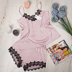"""Комплект (піжама) жіночий шовковий для дому та сну: майка + шорти """"DIVA"""" SH-167pink"""
