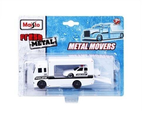 "Набор игрушечный Maisto ""Metal Movers"" - трейлер-транспортер + машинка 15211"