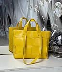 Женская сумка шоппер большая вместительная яркая желтая экокожа плетение