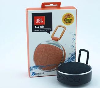 Беспроводная колонка Bluetooth JBL С6, с SD, FM, карабином и фонариком