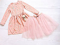 Детское нарядное платье для девочки от 4 до 6 лет, со сьемной фатиновой юбкой