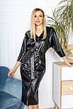 Платье женское из искусственной кожи с поясом, фото 3