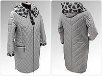 """Жіноча демісезонна куртка-плащ великих розмірів ArDi """"Лариса"""" Светло-серый, 52"""