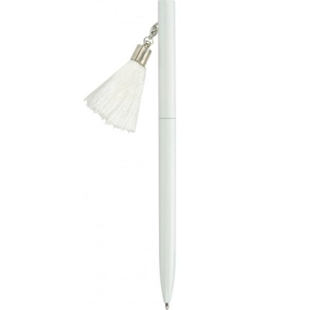 Ручка металева біла з брелоком-пензликом, пише синім (MX16366)