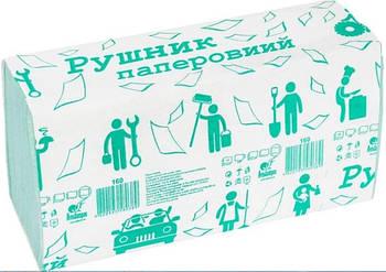 Полотенце бумажное макулатурное, V-сложения, зеленый, 160 шт.(ALB128)
