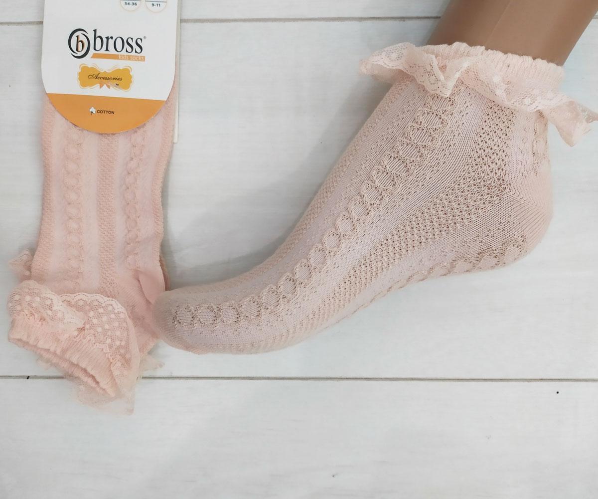 Шкарпетки для дівчинки ажурні+рюшики, укорочені, Bross (9-11 років.)