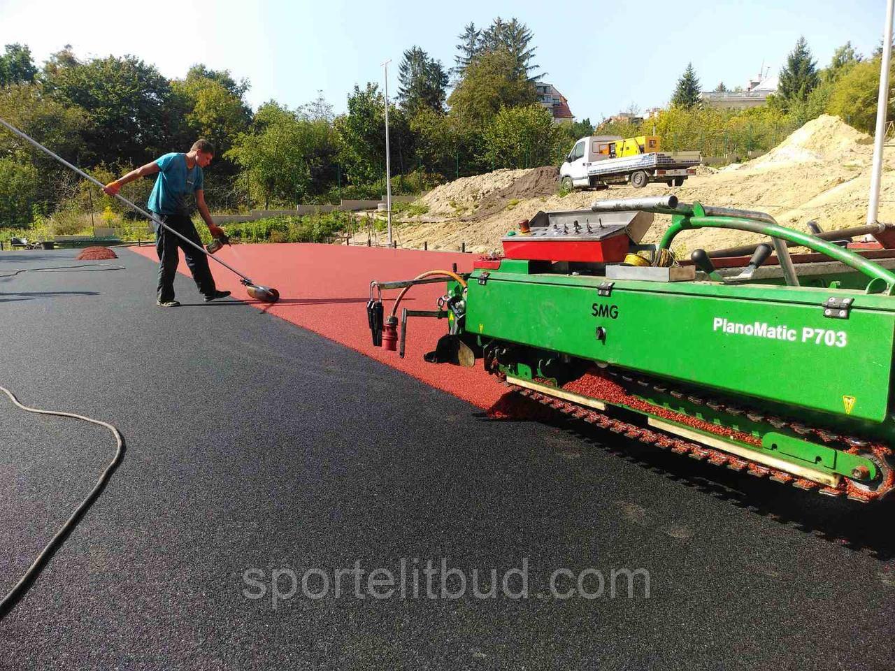 Влаштування спортивного покриття з гумової  крихти та EPDM каучука