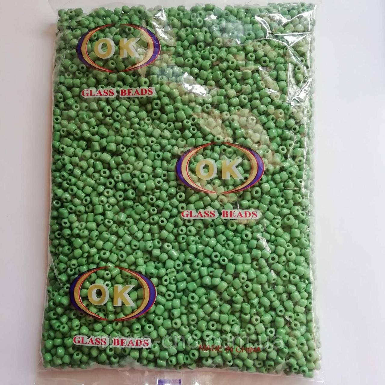 Бисер крупный №6 светло-зеленый 450 грамм